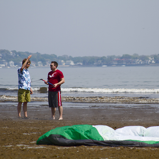 George I. Pare' of True Progression Kiteboarding teaching on Long Beach in Nahant.