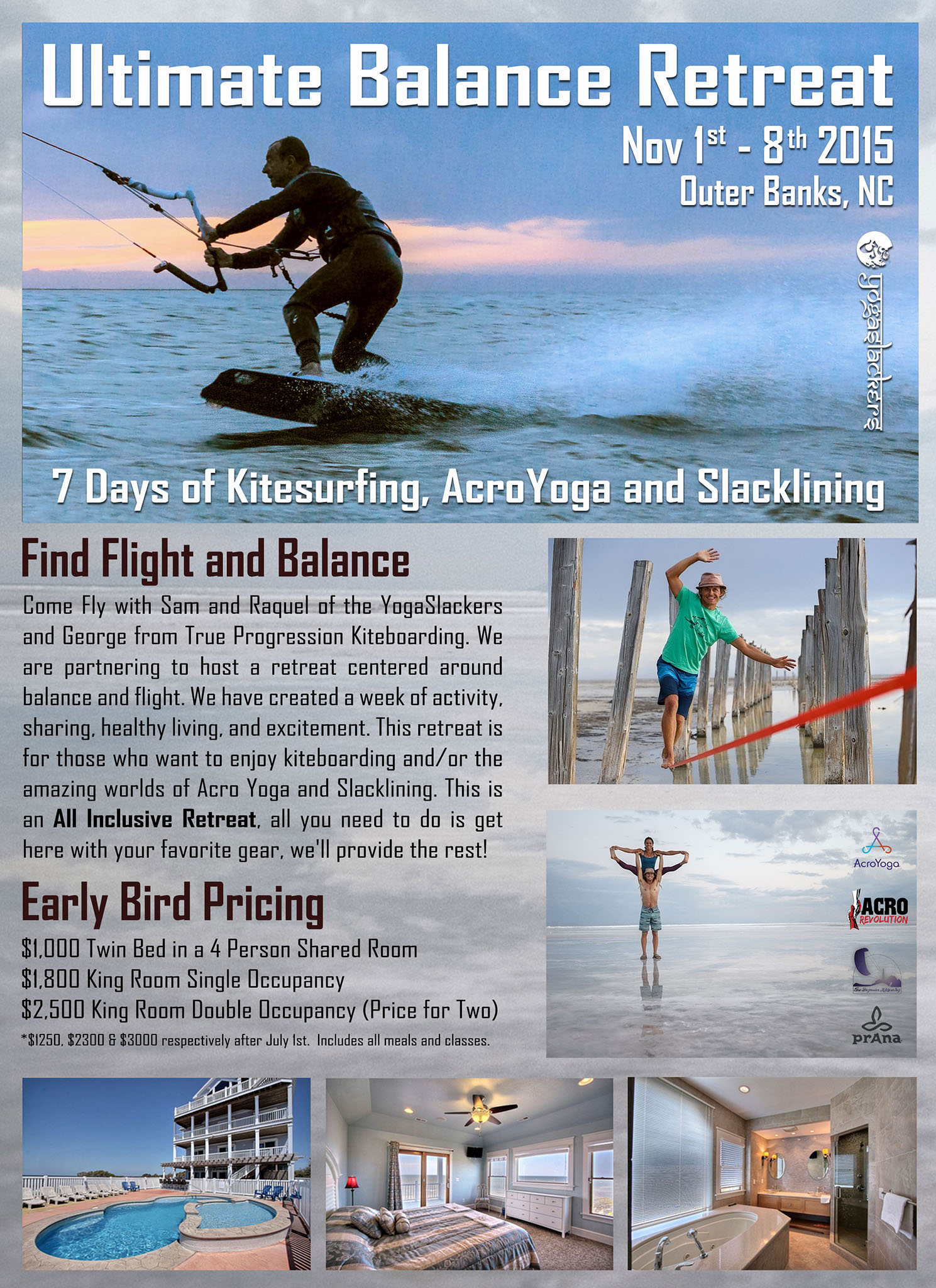 Ultimate Balance Retreat Flyer Poster True Progression Kiteboarding George Pare YogaSlackers Sam Raquel Gourmet in a Pinch Cape Hatteras 2015